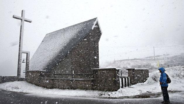 La nieve ya cayó durante el fin de semana en zonas altas de Navarra, como el alto de Ibañeta
