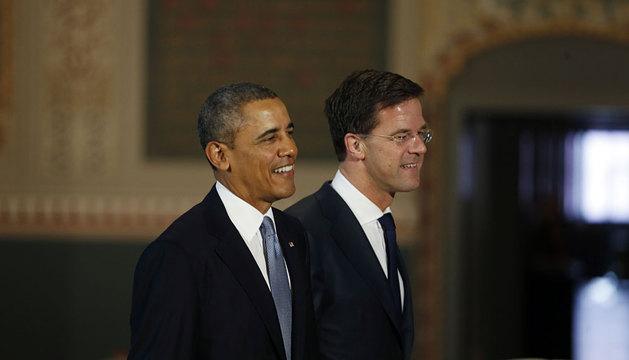 Obama, junto al primer ministro holandés, Mark Rutte.