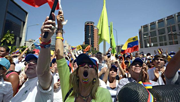 Imagen de las protestas en Caracas (Venezuela)