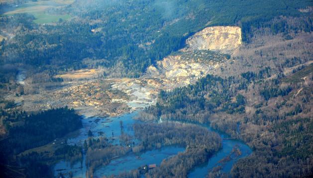 Vista aérea de la zona del desprendimiento