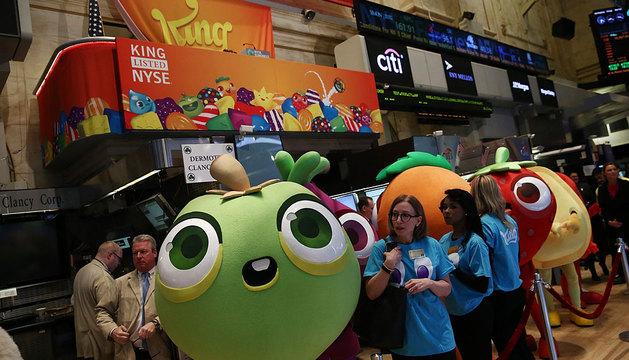 Personajes de Candy Crush, en la bolsa de Nueva York.