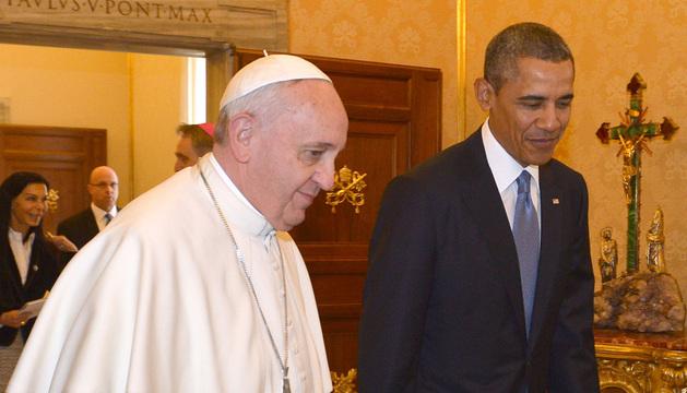 Obama en su primer encuentro con el papa Francisco en el Vaticano.