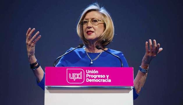 La líder de UPyD, Rosa Díez, durante su intervención en el acto de presentación de los candidatos del partido a las elecciones europeas.