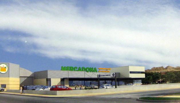 Recreación del anteproyecto del supermercado, visto desde la avenida del Valle