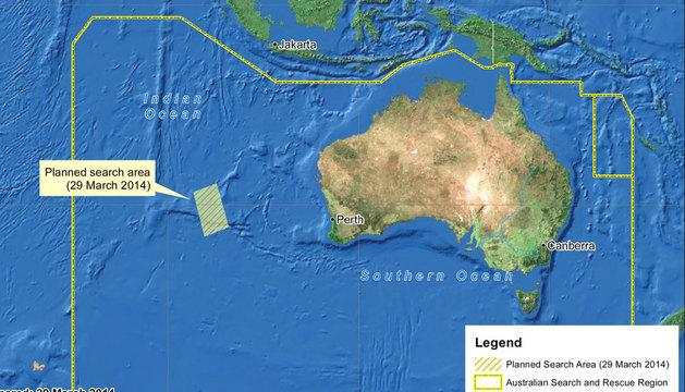 La nueva zona de búsqueda comprende unos 319.000 kilómetros cuadrados de extensión