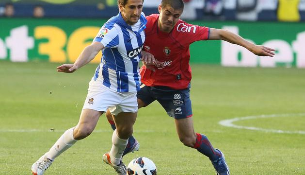 Silva, en el Osasuna-Real Sociedad de la pasada temporada