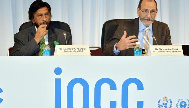Rajendra Pachauri y Chris Field, presidente y vicepresidente del IPCC.