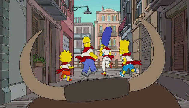 La familia Simpsons corriendo un peculiar encierro