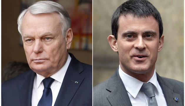 Jean-Marc Ayrault, hasta ahora primer ministro francés y el llamado a reemplazarle, Manuel Valls