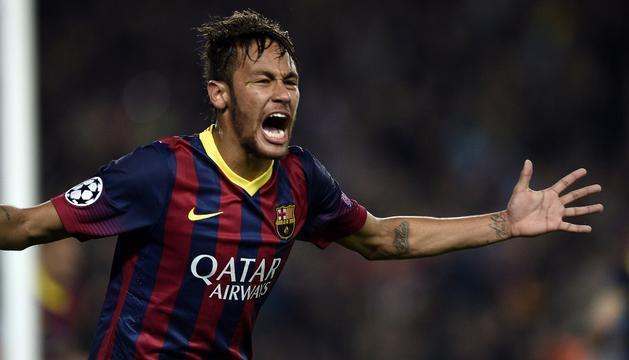 Neymar celebra su gol al Atlético.