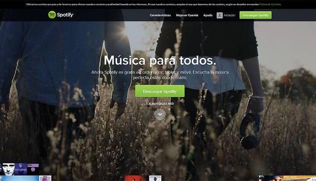 Página principal de Spotify