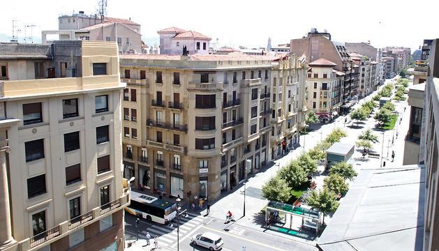 Vista general de la avenida Carlos III de Pamplona