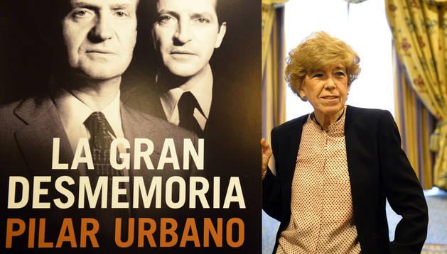 Pilar Urbano junto al póster del libro