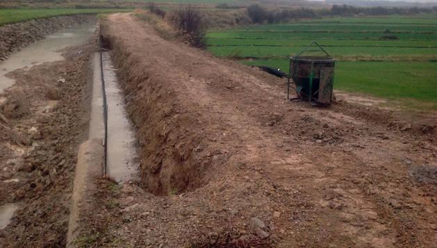 Imagen del punto en el que se rompió el Canal de Tauste
