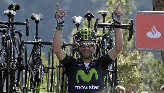 Alejandro Valverde, en la meta del Puy