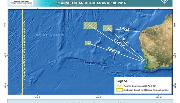 Las tres zonas del Océano Índico donde este sábado se buscaba el avión malasio desaparecido