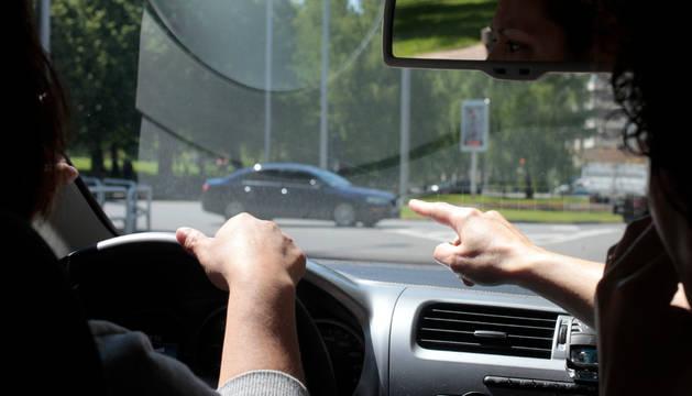 En una clase práctica de conducir, en Pamplona