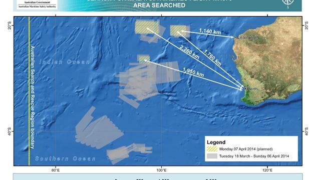 Zonas de búsqueda en el Océano Índico