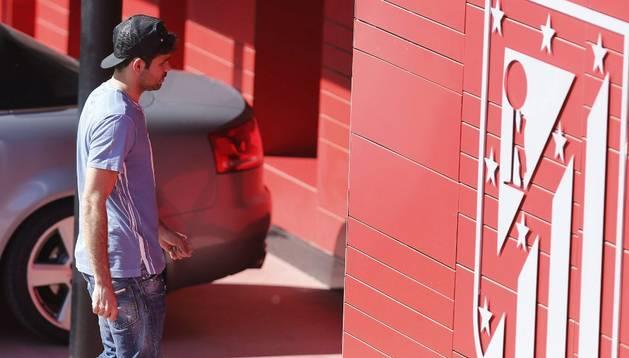 Diego Costa, a su llegada al entrenamiento