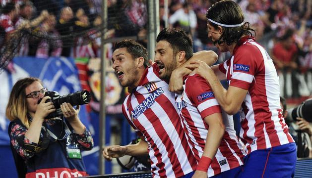 Koke, Villa y Filipe Luis