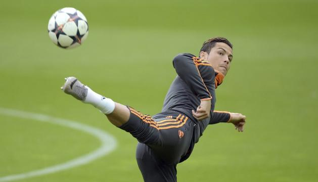 Cristiano Ronaldo, en el entrenamiento previo al choque ante el Borussia