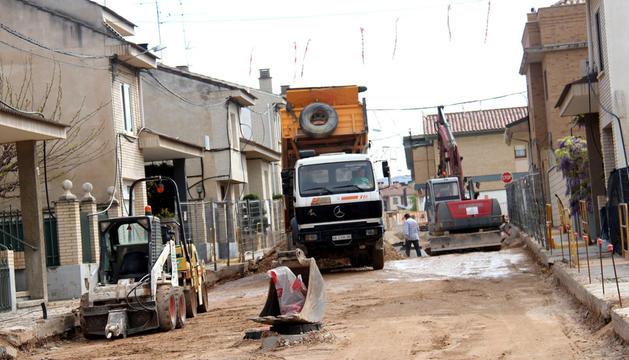Imagen de las obras que se están llevando a cabo en la calle Doctor Arias de Cintruénigo
