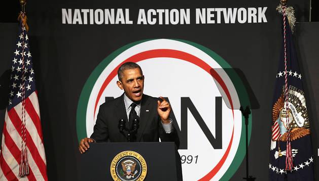 Barack Obama, durante un discurso en Nueva York, un día después de celebrar el 50 aniversario de la firma de la Ley de Derechos Civiles