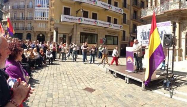 Este domingo, en el acto de la Plaza del Ayuntamiento