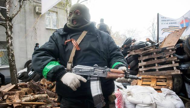 Un activista prorruso en Slaviansk