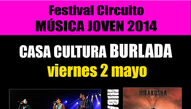 Cartel de los conciertos en Burlada del Circuito de música joven.