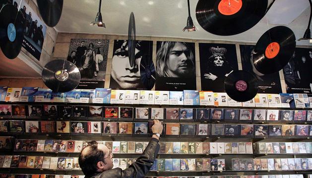 Tienda de discos en Teherán.