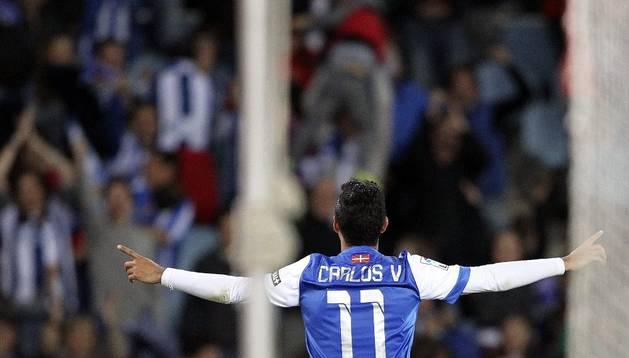 Carlos Vela, marcando el 2-1 en el último minuto de partido ante el Espanyol