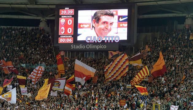Recuerdo a Tito Vilanova antes del encuentro este viernes entre la AS Roma y el AC Milan en Roma