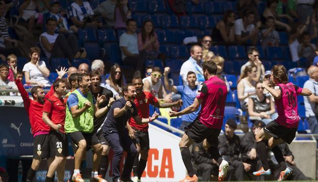 Celebración del segundo gol del Almería.