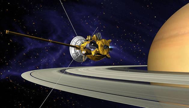 Recreación de la sonda Cassini en Saturno.