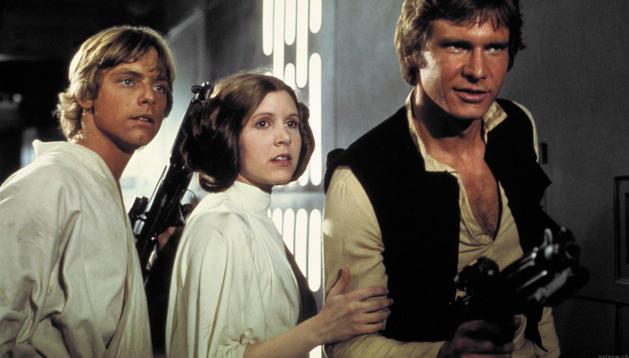Harrison Ford, Carrie Fisher y Mark Hamill caracterizados como sus personajes en 'La guerra de las galaxias'