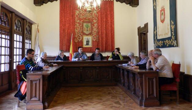 Vista general del salón de plenos del Ayuntamiento de Tafalla durante la sesión del martes.