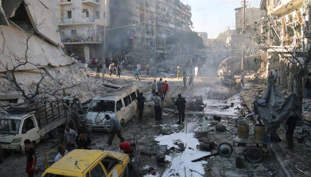 Estado de la ciudad de Alepo tras el bombardeo sufrido este jueves