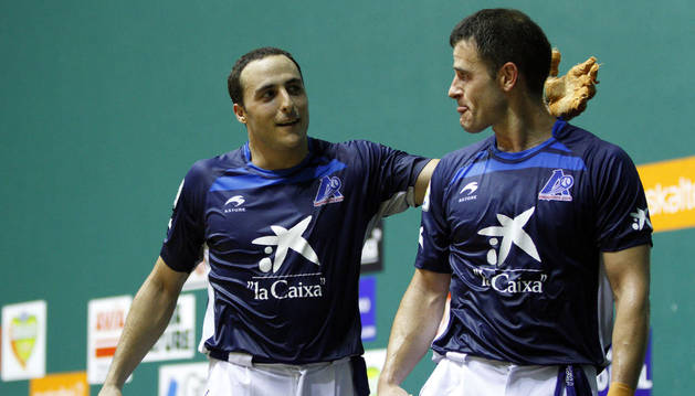 Los pelotaris Juan Martínez de Irujo y Abel Barriola