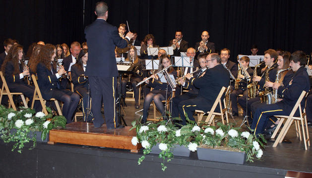 Un momento del concierto que ofreció la Banda de Música de Cascante