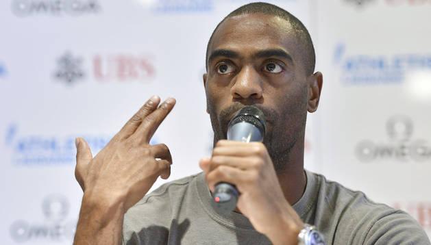 Imagen de julio de 2013 del atleta Tyson Gay durante una rueda de prensa