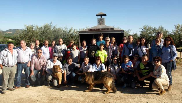 El grupo de aficionados taurinos en la finca La Tejería de Reta.