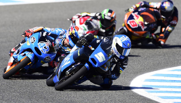 El italiano Fenati en el Gran Premio de España de Moto3. AFP