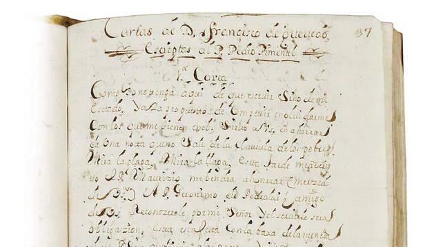 Uno de los documentos, copias del siglo XVIII, cuyos originales escribió Francisco de Quevedo y Villegas