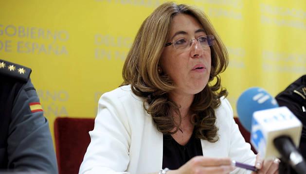 La delegada del Gobierno en Navarra, Carmen Alba, durante la rueda de prensa del balance trimestral de criminalidad en Navarra