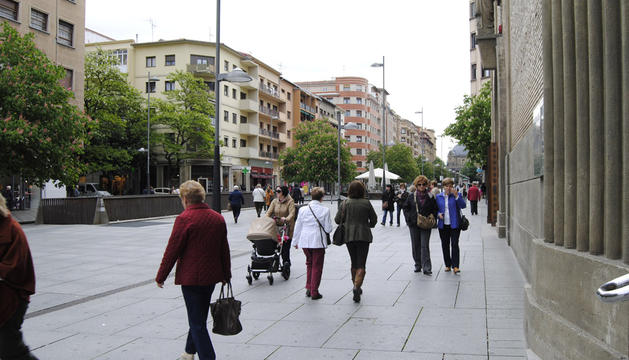 Calle Carlos III en Pamplona.