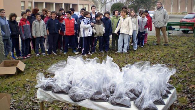 Un grupo de escolares durante el reparto que se hizo en el centro de compost.