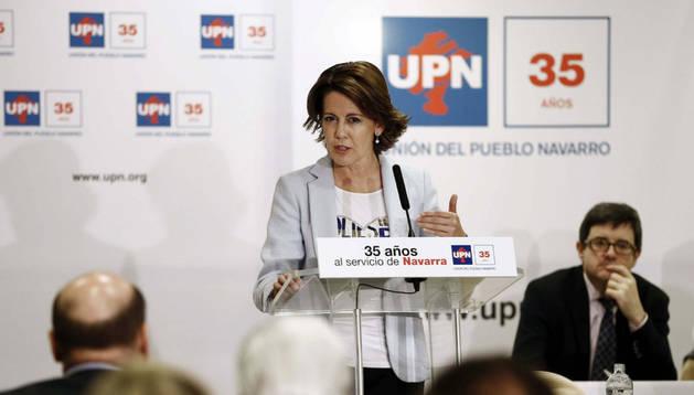 Yolanda Barcina durante su intervención en el Consejo Político de UPN