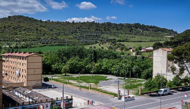 Campa donde se levantó la factoría de Agni en Estella
