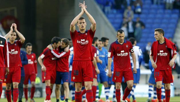 Oriol Riera agradece a los 1.000 aficionados de Osasuna su apoyo en Cornellà